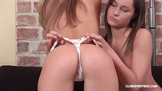 Lesbians Peggy D and Ashley G use a dildo for the best cum ever