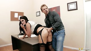 Office lady Mackenzee Pierce in stockings fucked apart from two dicks