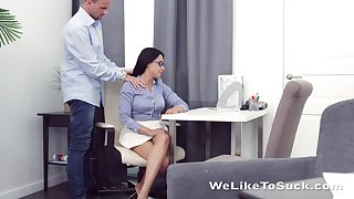 Kinky teacher fucks mouth anus and pussy be fitting of nerdy brunt student Chanel Lux
